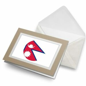 Greetings-Card-Biege-East-Asia-Kathmandu-Flag-Nepal-9163