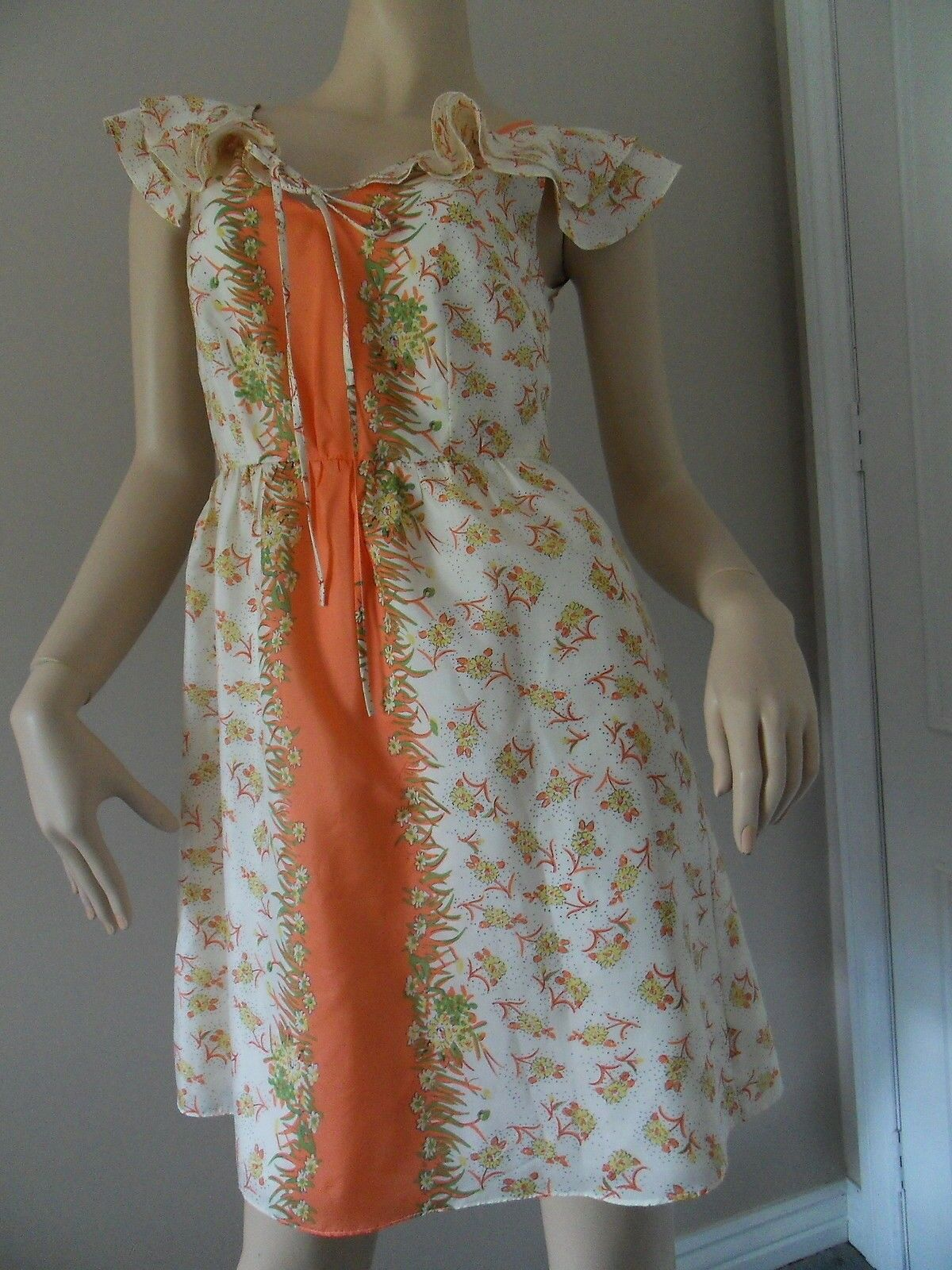 FLEUR WOOD Orange cream floral print 100% silk dress Größe 6 EUC
