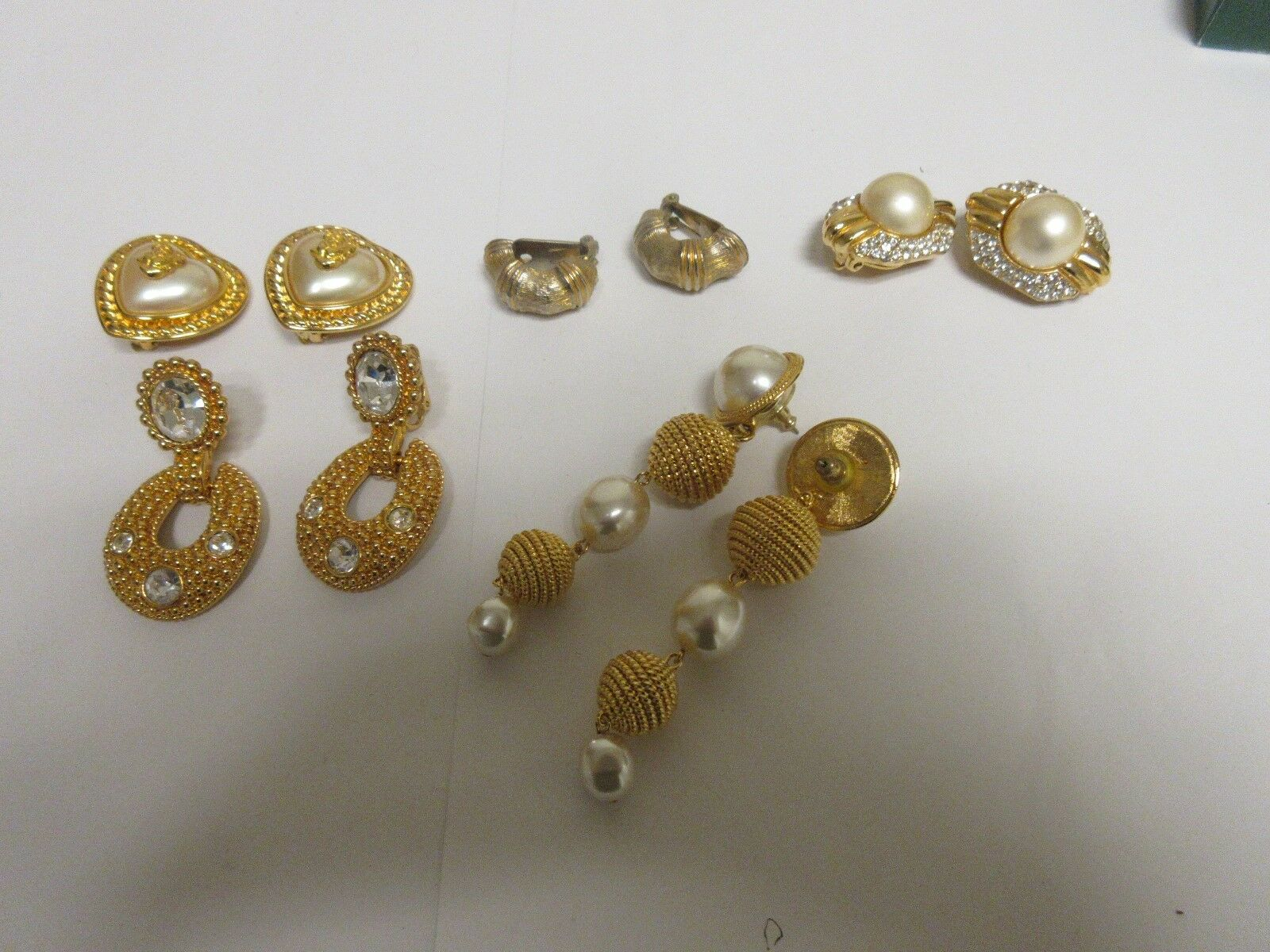 Earrings , Lot of 5 Pair , Gold Color , Heart , Pearl ,