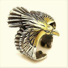Golden Eagle  3D  Solid 925 K Sterling Silver Mens Ring Gemstone open end