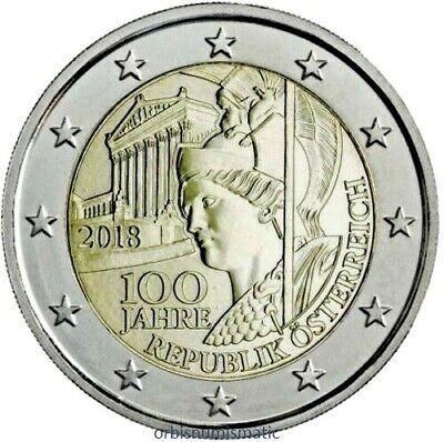 """2018 Austria € 2 Euro Uncirculated UNC Coin /""""Austrian Republic 100 Years/"""""""