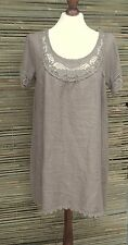 """LAGENLOOK LINEN LAYERING LACE SOFT LONG TUNIC-DRESS *TAUPE*SIZE  S/M BUST 38"""""""
