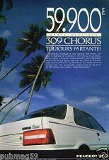 Publicité advertising 1989 Peugeot 309 Chorus