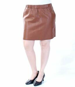 Maison-Jules-Skirt-Sz-XS-Tortoise-Shell-Brown-Pleather-Faux-Leather-Casual