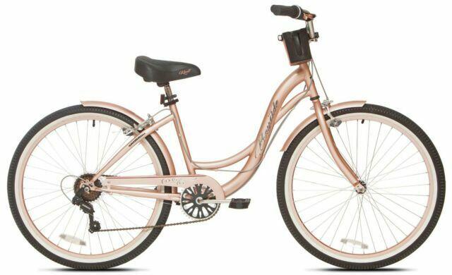 "Beach Cruiser Bike Women's 26"" Pink Hybrid Low Step-through Bicycle Shimano New!"