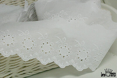 "3Yds Broderie Anglaise cotton eyelet lace trim 2.5"" white YH750 laceking2013"