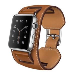 Genuine Leather Cuff Strap Apple Watch Band 38 40 42 44mm Iwatch Series 1 2 3 4 Ebay