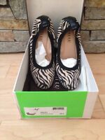 Anyi Lu - Hayley - Black Tan Zebra Suede Wedge Heel - 39.5 - 9.5