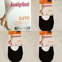 6 Pair Women's Kushyfoot Super Low Cut Foot Covers/socks, Black 3478