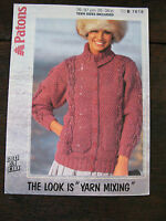"""Patons Knitting Pattern: Ladies Chunky Cabled Cardigan Jacket, 30-38"""", 7618"""