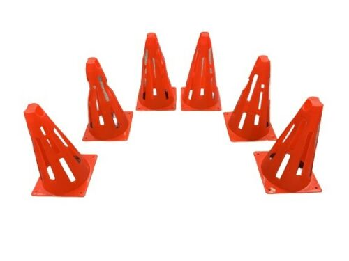 """TRAINING TRAFFIC COLLAPSIBLE CONES SET OF 6 Size 9/"""" Football//Sports Marker Disc"""