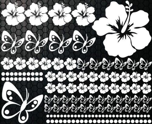 142-teiliges XXL Aufkleber Hibiskus Blumen Schmetterlinge 3 HAWAII WANDTATTOO b