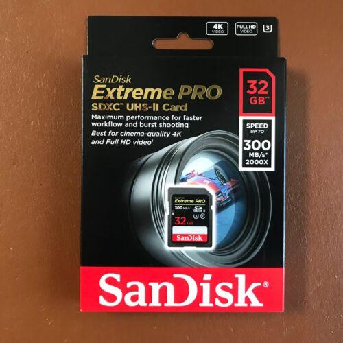 NEW SanDisk 32GB Extreme Pro SDXC Memory Card SDHC UHS-II SD 300 MB//s U3 4K UHD