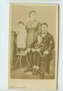 Vintage-CDV-French-Family-Child-with-a-hoop-Henry-Picot-Photo-Paris