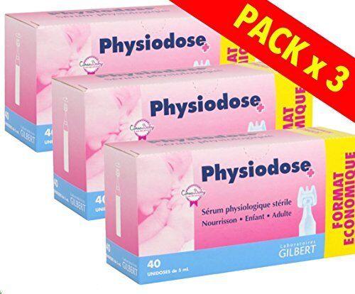 3 boîtes de 40 doses uniques Physiodose physiologiques Sérum