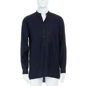 DRIES-VAN-NOTEN-cotton-linen-navy-blue-contrast-stitch-detail-tunic-shirt-FR48-M