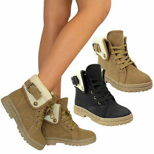 LADIES-WOMENS-ARMY-COMBAT-FLAT-GRIP-SOLE-FUR-LINED-WINTER-ANKLE-BOOTS-SHOES-SIZE