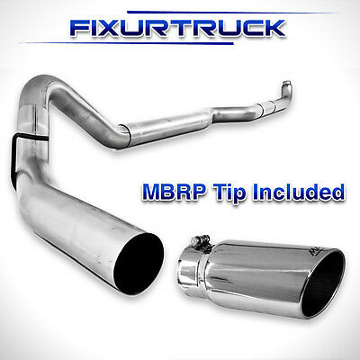 """MBRP 4/"""" Exhaust S6004PLM 01-10 GM Duramax 6.6L Turbo Downpipe Back Aluminized"""