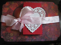 Valentine Day Heart Red Pink Love Paper Place Mat 12 Sets Napkin Doilies 36 Pcs