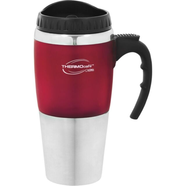 Thermos STAINLESS STEEL VACUUM INSULATED Cafe Travel Mug Double Wall Red 450ml