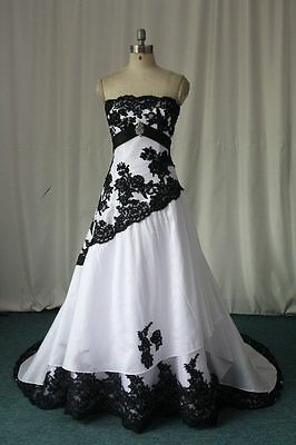 2019 Black And White Plus Size Gothic Wedding Dresses A Line Bridal Gowns Custom Ebay