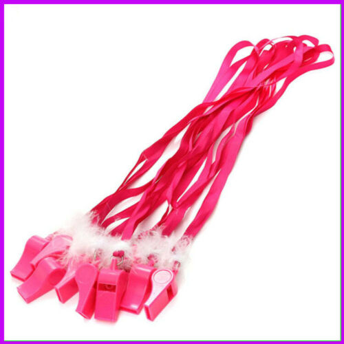Hen Night Whistle Ladies Costume Hen Do Party Fluffy Fuzzy Necklace Rose Red @S5