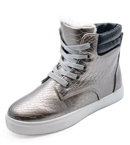 LADIES FLAT PEWTER WARM FLEECE-LINED HI-TOP TRAINER COMFY ANKLE BOOTS SHOES 3-8