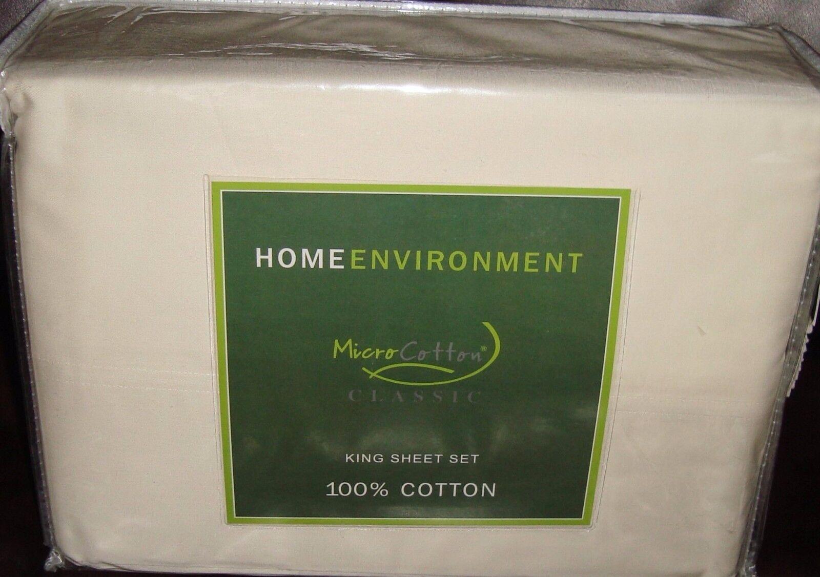 EnvironneHommest Domestique 350 threadcount Micro Coton Classic 4 PIECES roi Sheet Set Ivoire NEUF