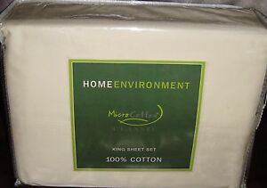Home Environment 350 TC Micro 100% Cotton Classic 4 PC King Sheet Set Ivory New