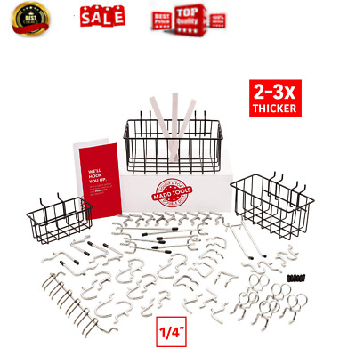 Peg Board Accessories That Dont Fall Out Of The Board 1//4 pegboard attachments MADD TOOLS Extra Thick 1//4 J Hooks For Pegboard 60 Pcs
