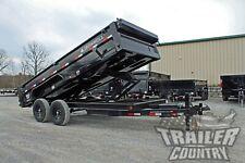 New 7 X 16 14k Gvwr Scissor Hoist Power Hydraulic Dump Trailer Equipment Hauler