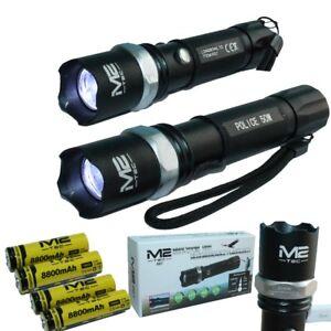 2x-Taschenlampe-Led-Werkstattlampe-Swat-Cree-mit-4x-Power-Akku-Ladekabel