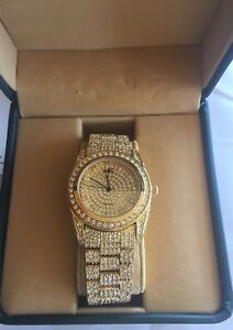 Adee-Kaye-Men-039-s-18KT-Gold-Plated-Bling-Watch-Beverly-Hills-Japan-Movement-w-Box