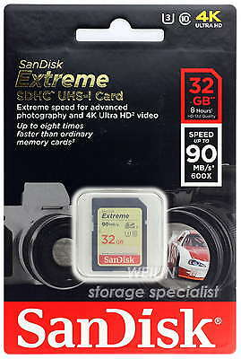 SANDISK Extreme 32 GB SD SDHC Memory Card Class 10 UHS-I 90MB 600X 32G U3 4K V30
