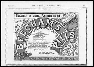 1897-Antique-ADVERTISING-Print-BEECHAMS-PILLS-Suaviter-in-Modo-51