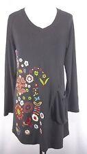 Urban Mango Size L Gray Multi-Color Boho Chic Embroidered Tunic Dress Knit
