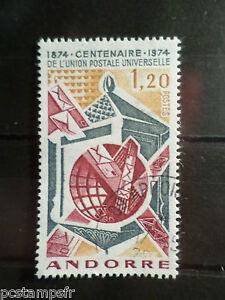 ANDORRE-FRANCAIS-1974-timbre-242-CENTENAIRE-UPU-oblitere-VF-STAMP