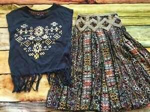 Jak-amp-Peppar-by-Mustard-Pie-10-8-Coronado-Skirt-and-Boho-Fringe-Top-EUC-Crochet