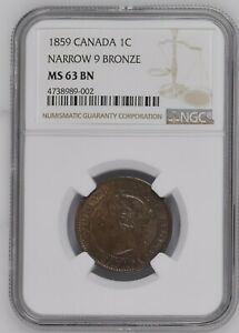 Canada-Bronze-Large-1-Cent-1859-Victoria-Narrow-9-NGC-MS-63-Brown