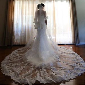 2018-White-Cathedral-Wedding-Veils-2T-With-Comb-Ivory-Bridal-Lace-Applique-Veils
