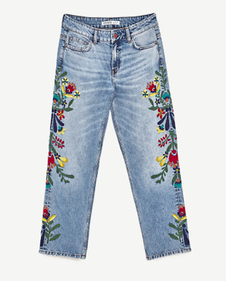 ZARA Women's Mid-rise Jeans with Floral Embroidery(Mid-blue, US  8/EUR 40)