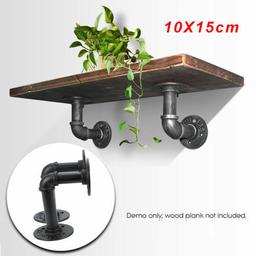 YORKING 2PCS Shelves Brackets Industrial Antique Pipe Black Iron Wall Mounted Hanging Black