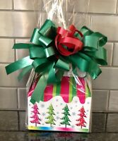 Christmas Tree Gift Box-basket Filled W/ Candy & Wrapped W/ Bow & Card