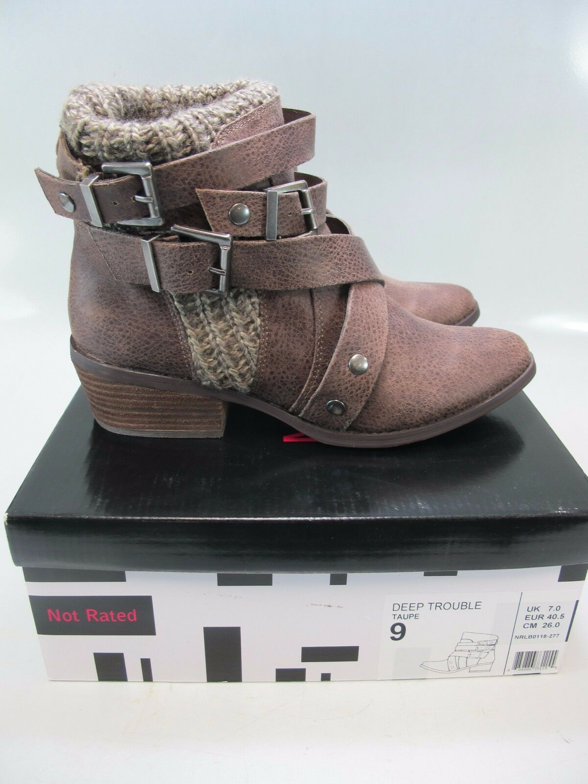 NOT RATED Womens DEEP TROUBLE Taupe Boots US 9M; EU 40.5 (NRLB0118-277)