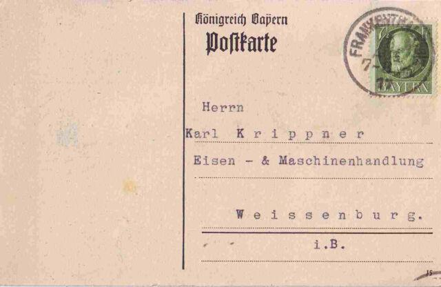 FRANKENTHAL Postkarte mit Stempel 1917