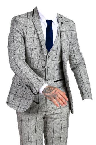 Grey Mens Marc Darcy 3 Piece Tweed Check Suit Kristian Jose