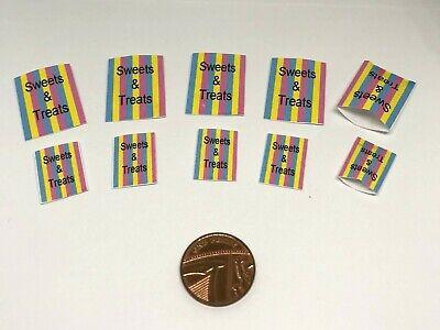 DD421 Dolls House miniatura Sweet Shop sacchetti di carta degli oggetti ulteriori P /& P Gratis