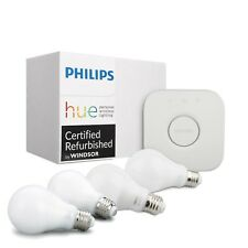 Philips Hue White 4PK A19 60W Dimmable LED Smart Bulb + Bridge Starter Kit