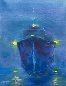 Original-Oil-PaintingL-Foggy-Morning-Go-To-Port-Large-Boat-Canvas-Board-6x8