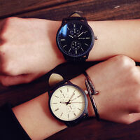 Fashion unisex Woman man Leather band Big dial Quartz Analog couple Wrist Watch